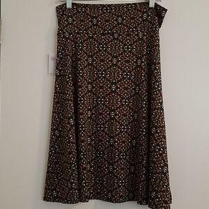 LuLaRoe Azure Skirt Green Diamond Pattern Size L